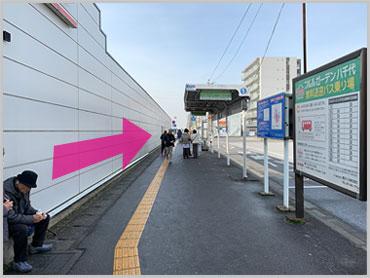 線路沿いに大和田方面へ真っ直ぐ進みます。